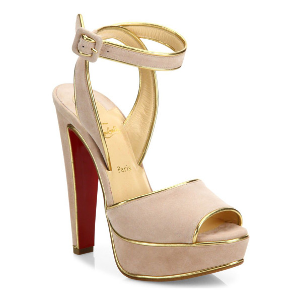 CHRISTIAN LOUBOUTIN louloudance 140 metallic-trim suede platform sandals - Metallic trim highlights suede peep-toe platform sandal....