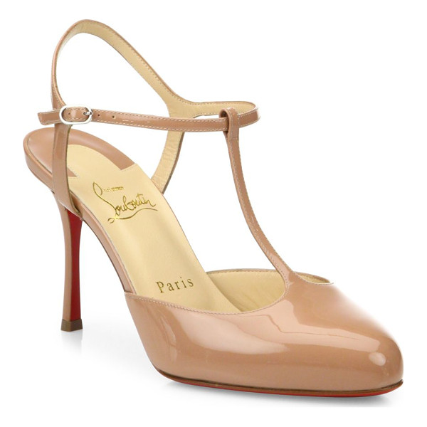CHRISTIAN LOUBOUTIN me pam 85 patent leather t-strap pumps - Classic patent leather silhouette with slender T-strap....