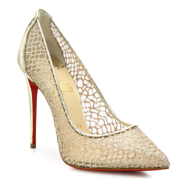 CHRISTIAN LOUBOUTIN Follies lace & metallic leather point-toe pumps - Mesh point-toe pumps with swirly metallic overlay....