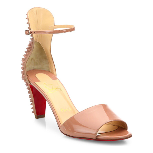 CHRISTIAN LOUBOUTIN Mini stud patent leather ankle-strap sandals - Edgy ankle-strap sandal backed by tonal spiked studs....