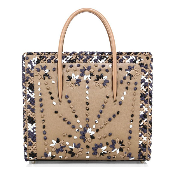 CHRISTIAN LOUBOUTIN paloma large mexinodo leather & denim tote - Structured whipstitched tote with spiked denim sides....