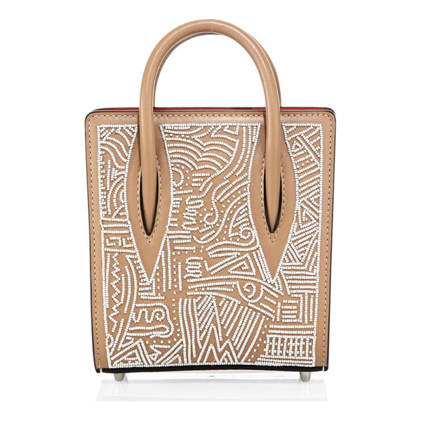 CHRISTIAN LOUBOUTIN paloma nano africamana beaded leather tote - Petite structured leather tote with intricate beading....