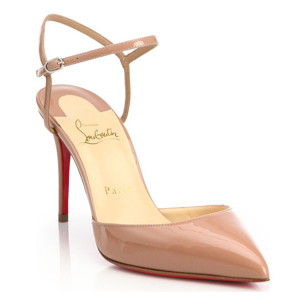CHRISTIAN LOUBOUTIN riverina patent leather ankle-strap slingback pumps - Ankle strap updates patent leather slingbacks. Self-covered