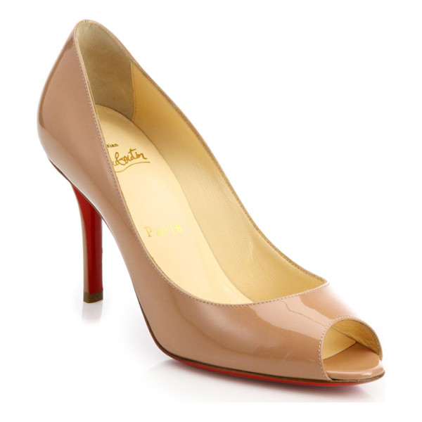 CHRISTIAN LOUBOUTIN patent leather peep-toe d'orsay pumps - Timeless patent d'Orsay pump finished with a peep toe....
