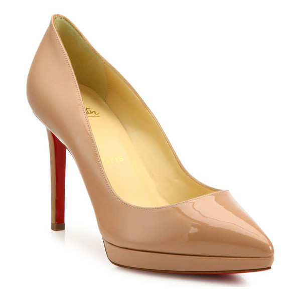 CHRISTIAN LOUBOUTIN pigalle plato patent leather point toe platform pumps - Island platform adds subtle lift to patent point-toe pump.
