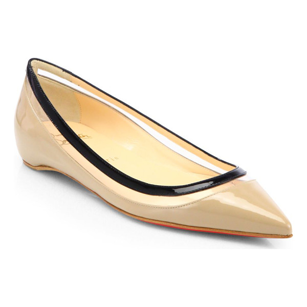 CHRISTIAN LOUBOUTIN Paulina patent leather & plastic point-toe flats - A clear plastic panel lends sexy style to these polished...