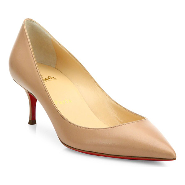 CHRISTIAN LOUBOUTIN pigalle follies 55 leather pumps - Timeless leather point-toe pump set on easy kitten heel.