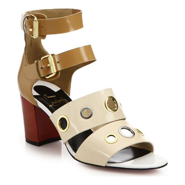 CHRISTIAN LOUBOUTIN Scuba grommet-studded leather sandals - Mixed-metal grommets lend a touch of city-chic attitude to...