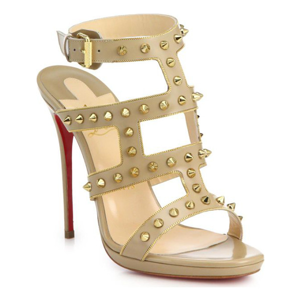 CHRISTIAN LOUBOUTIN Sexystrapi studded & chain-trimmed leather sandals - Gilded spike studs and chain trim inject these tall leather...