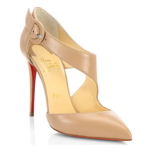 CHRISTIAN LOUBOUTIN sharpeta 100 leather pumps - Cutout leather point toe pump with asymmetric strap....