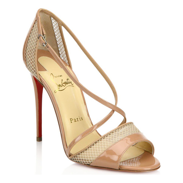 CHRISTIAN LOUBOUTIN silkova 100 patent leather & mesh sandals - Strappy patent leather sandal with sheer mesh inserts....