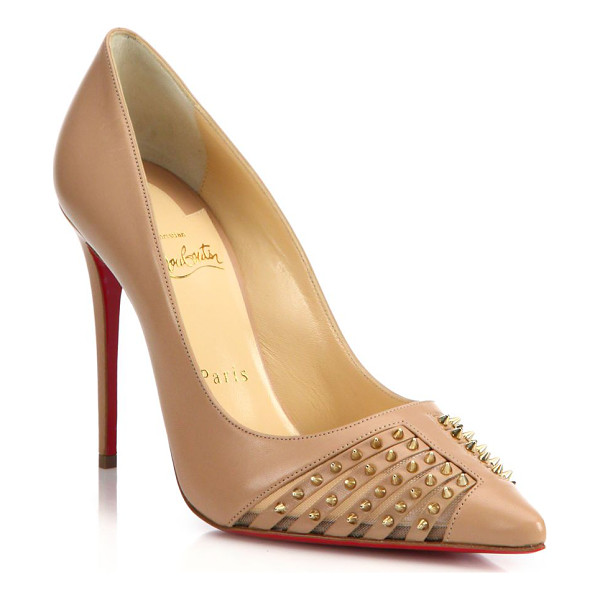 CHRISTIAN LOUBOUTIN Spiked leather & mesh pumps - Glam leather and mesh pump with edgy spikesSelf-covered...