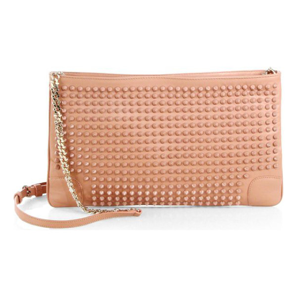 CHRISTIAN LOUBOUTIN Loubiposh studded leather clutch - Wear this sleek, slim style in hand or across the body,...