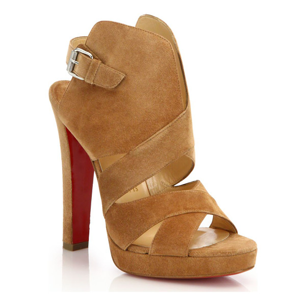 CHRISTIAN LOUBOUTIN Suede open-toe sandals - Structurally chic sandal in soft-touch suedeCovered heel,...