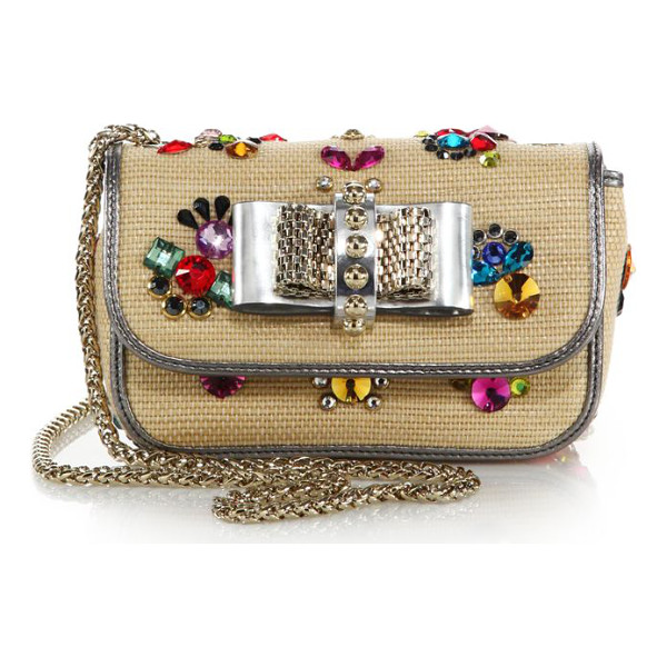 CHRISTIAN LOUBOUTIN Sweety charity embellished raffia clutch - This coveted Christian Louboutin classic is uniquely...