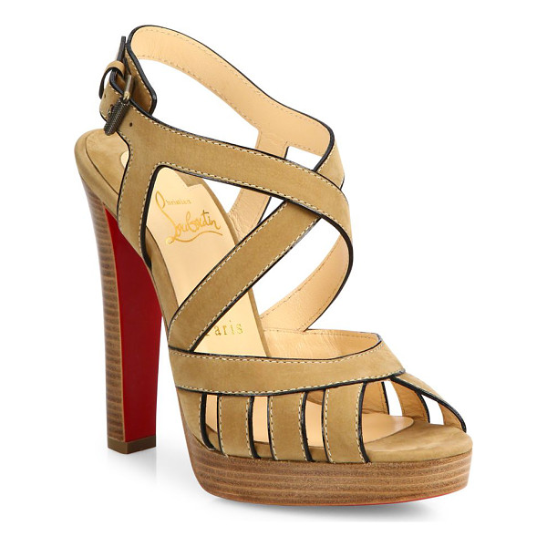 CHRISTIAN LOUBOUTIN Tres city suede sandals - Cage-style crisscross sandal in sumptuous suedeStacked...
