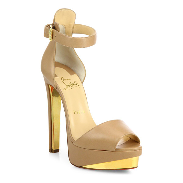 CHRISTIAN LOUBOUTIN Tuctopen leather ankle-strap platform sandals - Leather platform sandal inset with golden metal plates....