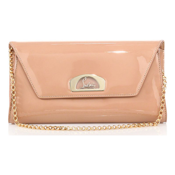CHRISTIAN LOUBOUTIN vero dodat patent leather clutch - Sleek leather clutch with signature hardware and chain