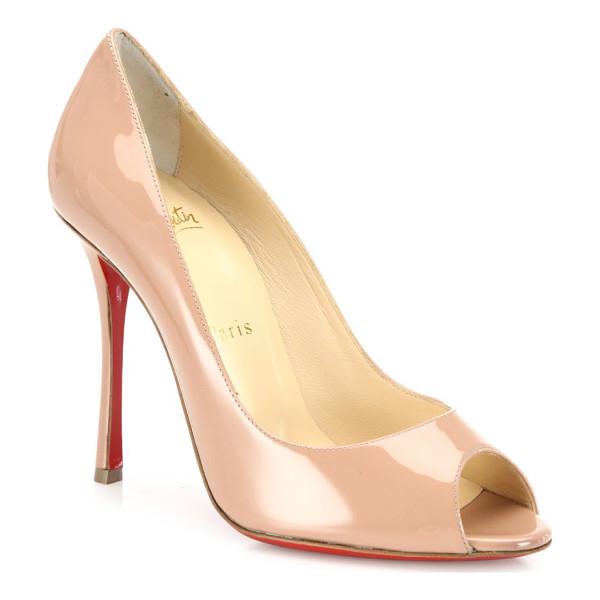 CHRISTIAN LOUBOUTIN yootish 100 patent leather peep toe pumps - Timeless peep-toe pump cast in glossy patent leather....