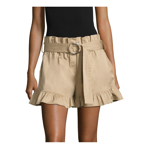 CINQ A SEPT braxton belted ruffled shorts - Belted twill shorts finished with feminine ruffles. Belted...