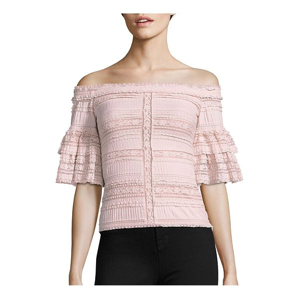 CINQ A SEPT naya off-the-shoulder lace top - EXCLUSIVELY AT SAKS FIFTH AVENUE. Gathered off-the-shoulder...
