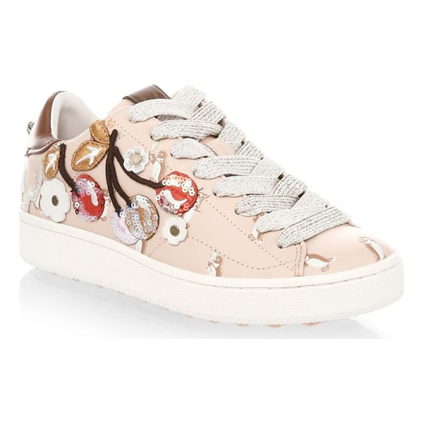 COACH cherry leather fashion sneakers - Padded leather sneakers with adorable 3D patches. Leather...