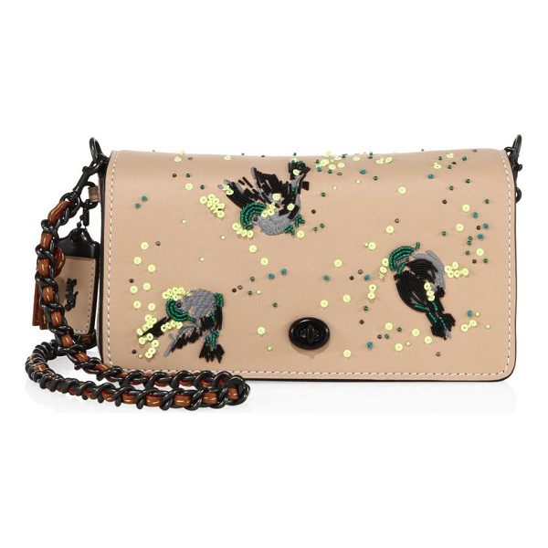 COACH dinky meadowlark-embellished leather crossbody bag - Iconic leather crossbody with sequined meadowlark motif....