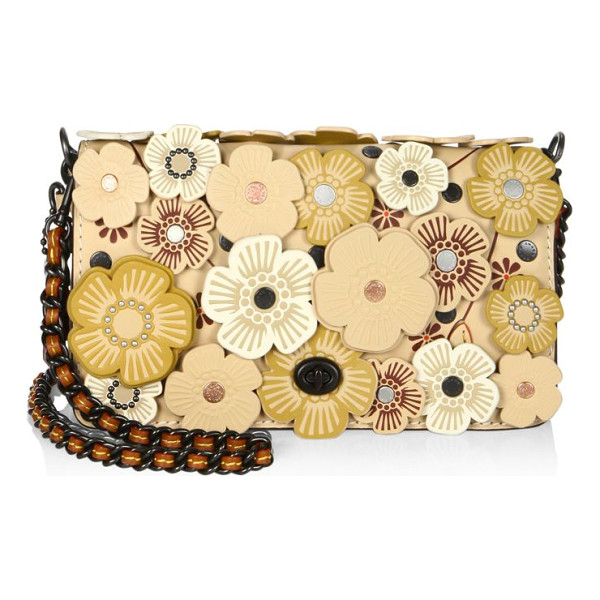 COACH dinky tea rose-applique leather crossbody bag - Leather blooms enliven crossbody with woven chain strap.