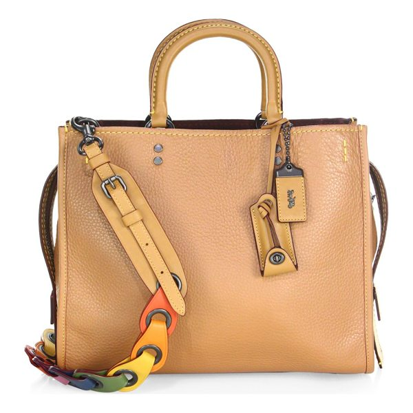 COACH 1941 multicolor strap leather satchel - Multicolored link strap complements this pebbled leather...