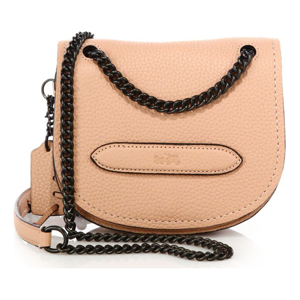 COACH Pebbled leather small shadow crossbody bag - Petite saddle crossbody bag with blackened curb...