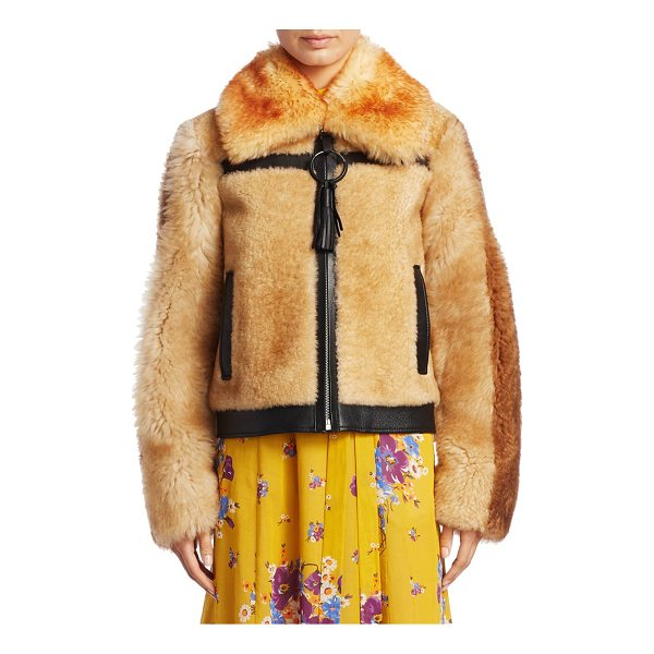 COACH pieced shearling bomber jacket - Shearling bomber with leather tassel and trim. Oversize...