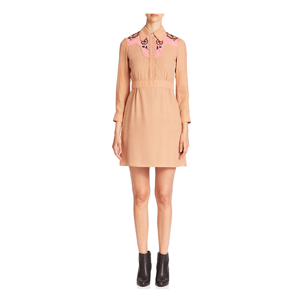 COACH Silk embroidered shirt dress - Floral embroidery details elevate this silk dress. Point...