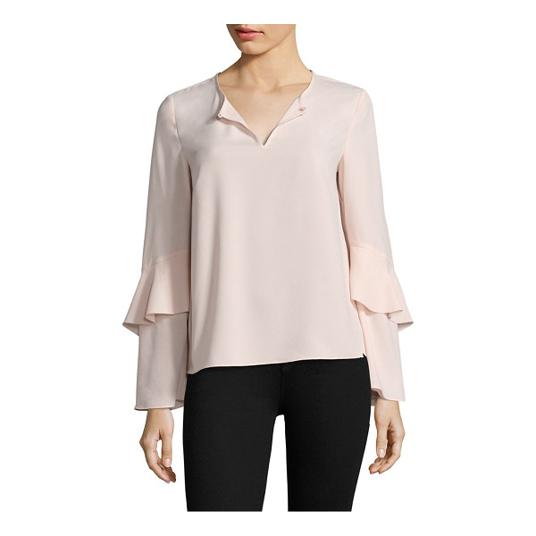 COOPER & ELLA agatha tiered sleeve blouse - Tiered sleeves elevate this appealing blouse. Roundneck....