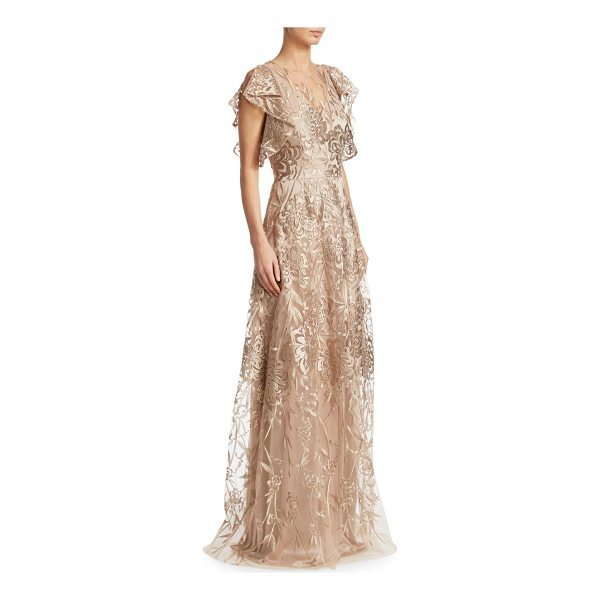 DAVID MEISTER floral floor-length gown - Elegant gown updated with an embroidered mesh...