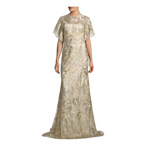 DAVID MEISTER metallic embroidered gown - Allover embroidery amplifies this gorgeous gown. Illusion...
