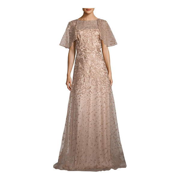 DAVID MEISTER metallic floral embroidered gown - Alluring floral embroidered gown in a shimmery tone....