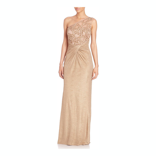 DAVID MEISTER One-shoulder embellished gown - A shimmering sequined bodice dresses up this sophisticated...