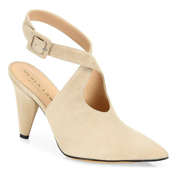 DEREK LAM ana suede ankle-strap point toe pumps - Suede point-toe slingback with crisscriss ankle strap....
