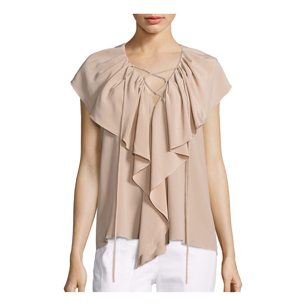 DEREK LAM sleeveless ruffle blouse - A ruffle front highlights this lace up silk blouse. V-neck....