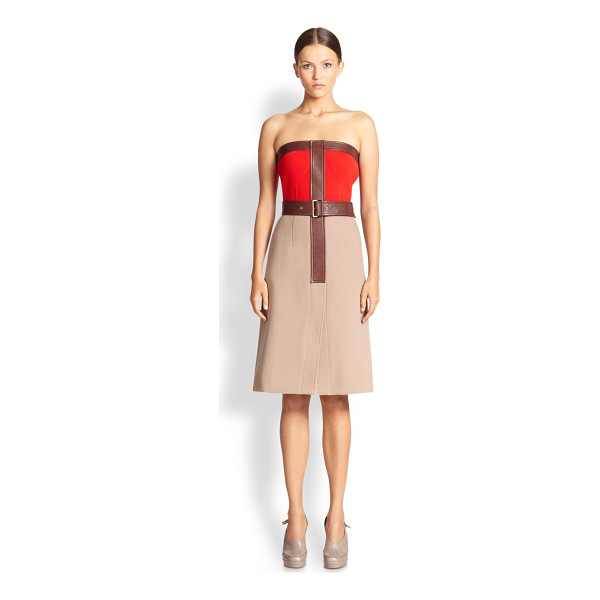 DEREK LAM Strapless leather-trimmed dress - A strapless A-line design in fine Italian wool, crafted...