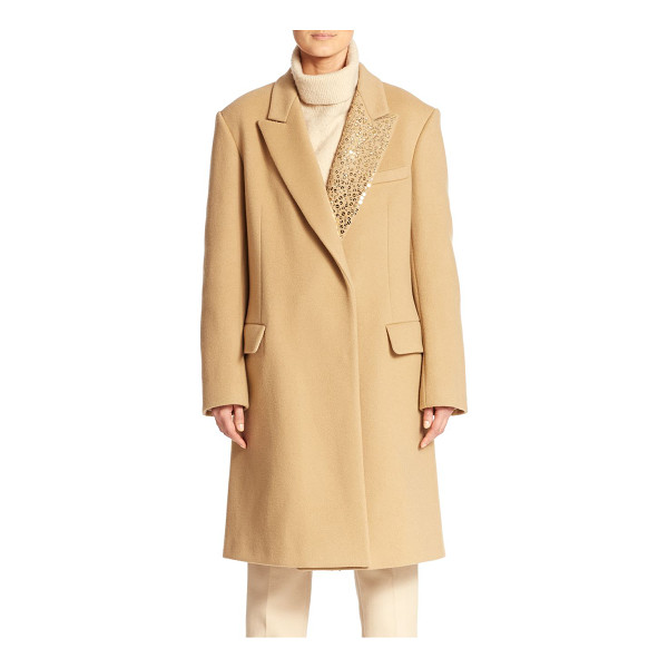 DKNY Embellished notched-collar coat - Shimmering tonal sequins add elegant femininity to this...