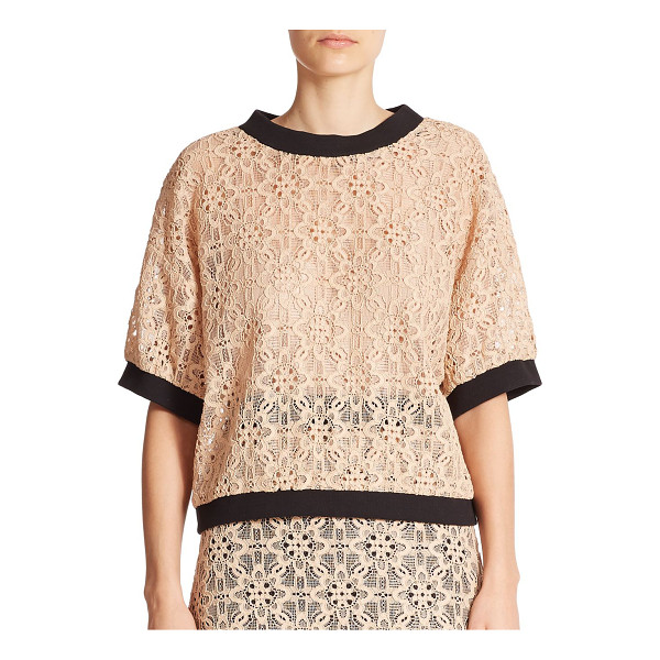 DKNY Lace contrast-trim top - Romantic floral lace adds femininity to this oversized tee...