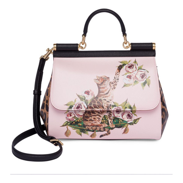 DOLCE & GABBANA cat & floral leather top-handle bag - Statement-making bag sports cat and floral prints. Top...