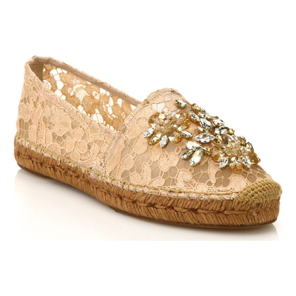 DOLCE & GABBANA Embellished lace espadrille flats - Relaxed silhouette elevated by lace and shimmering...