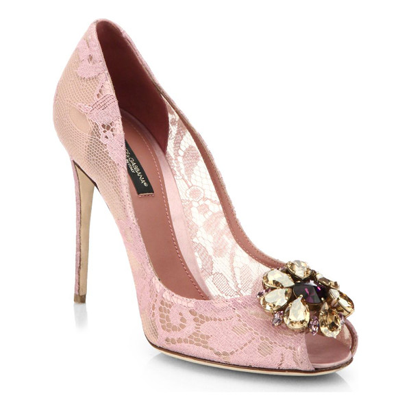 DOLCE & GABBANA Embellished lace peep-toe pumps - Delicate lace and jewel embellishments lend ladylike appeal...