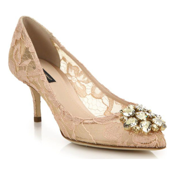 DOLCE & GABBANA embellished lace point toe pumps - A jeweled flower glistens on this romantic lace pump set...
