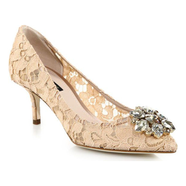 DOLCE & GABBANA embellished lace point toe pumps - A jeweled flower glistens on this romantic lace pump set