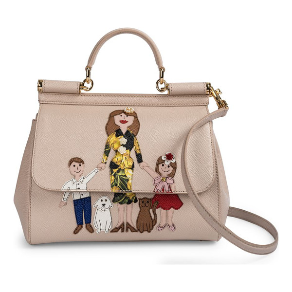 DOLCE & GABBANA Family medium leather satchel - Cheeky family drawing adorns ladylike satchel. Top handle,...
