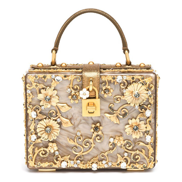 DOLCE & GABBANA Filigree plexiglass top-handle bag - An abundance of goldtone filigree and Swarovski crystals...