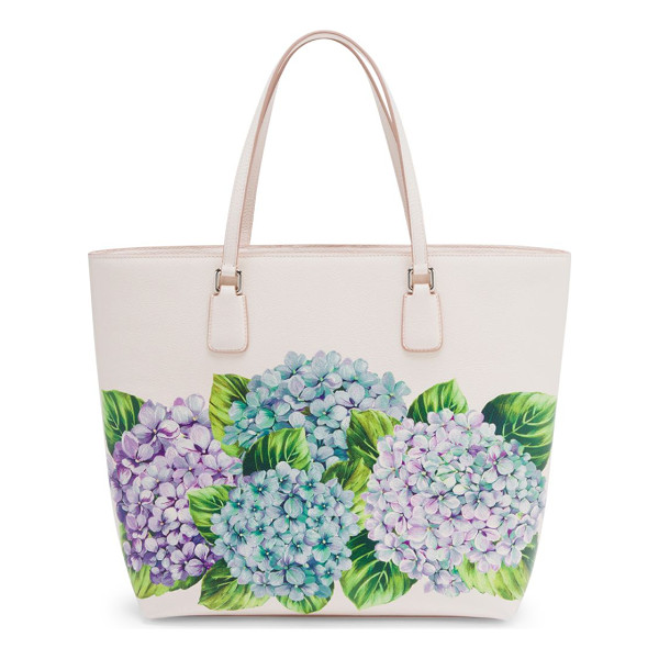 DOLCE & GABBANA hydrangea-print leather tote - Painterly hydrangea motif enlivens grained leather tote....